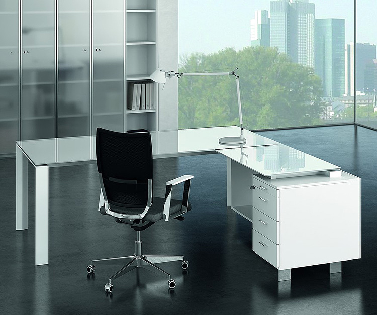 Pure White Glass Desk