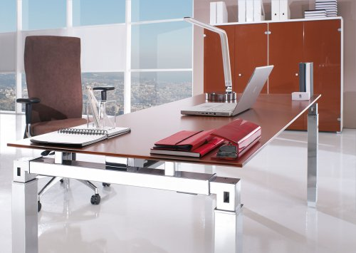 Golden Brown Glass Executive Desk