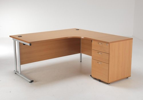 24/48 Hour Delivery Beech & Oak Radial Cantilever Desk & Pedestal Set