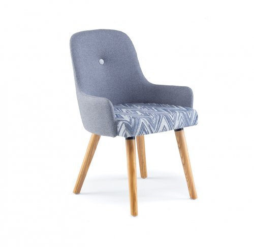 Yin Reception Chair with Wood Leg Base