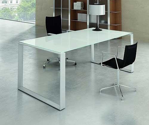 Mystique White Glass Executive Desk