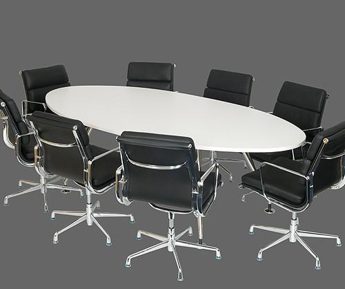 Sleek White Meeting Room Conference Table Meeting Boardroom - White oval conference table