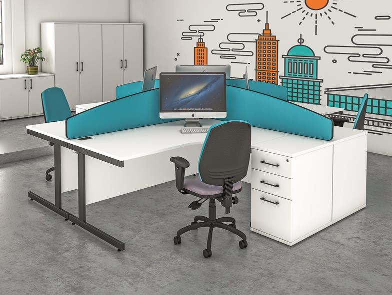 Realm Radial Office Desk & Pedestal Sets