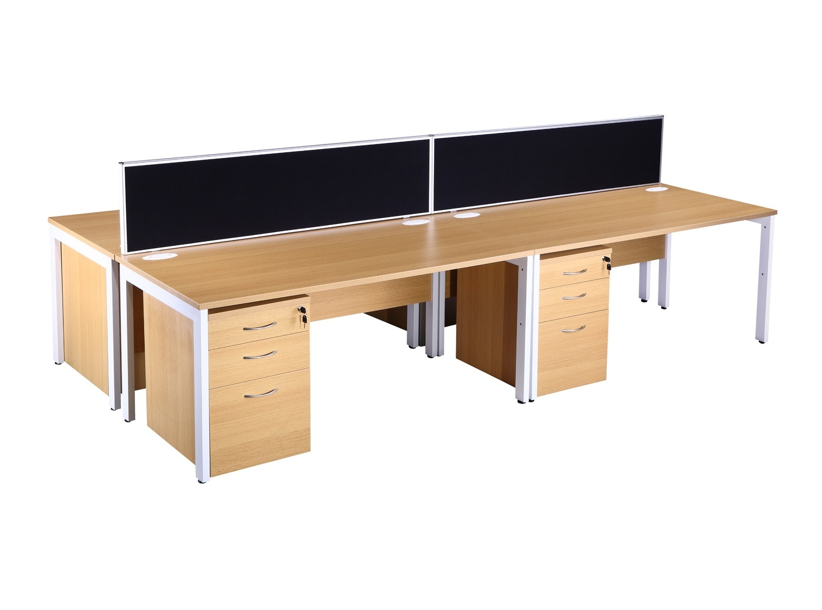 Explore Light Oak Bench Style Office Desk & Pedestal Sets