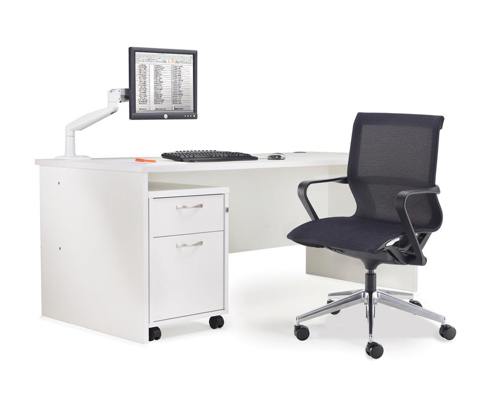 Galaxy White Rectangular Desk & Pedestal Sets