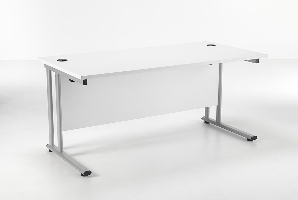 24/48 Hour White Rectangular Cantilever Office Desk