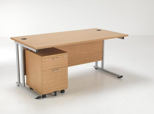 24/48 Hour Beech & Oak Rectangular Cantilever Office Desk & 2 Drawer Pedestal