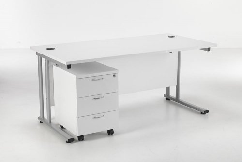 24/48 Hour White Rectangular Cantilever Office Desk & 3 Drawer Pedestal