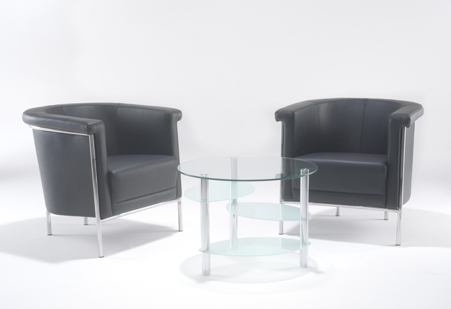 Tub Leather reception chairs