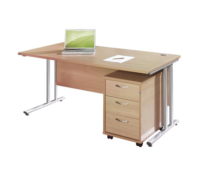 Swift Rectangular Office Desk & 3 Drawer Pedestal Sets