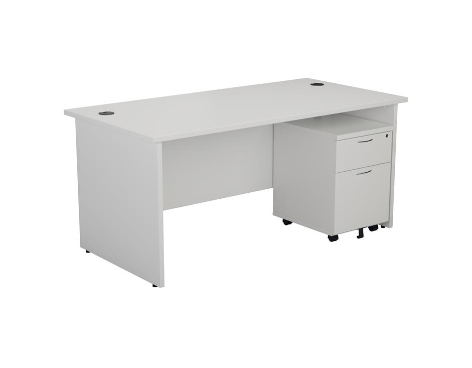 24/48 Hour White Panel End Rectangular Office Desk & 2 Drawer Pedestal