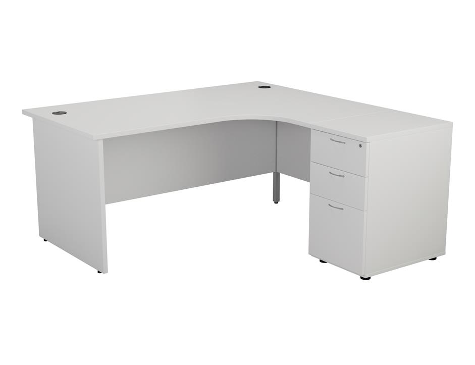 24/48 Hour White Panel End Radial Office Desk & Pedestal