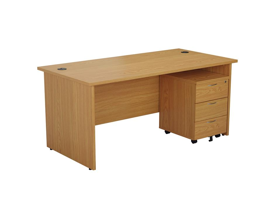 24/48 Hour Beech & Oak Panel End Rectangular Office Desk & 3 Drawer Pedestal