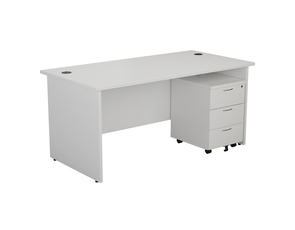 24/48 Hour White Panel End Rectangular Office Desk & 3 Drawer Pedestal