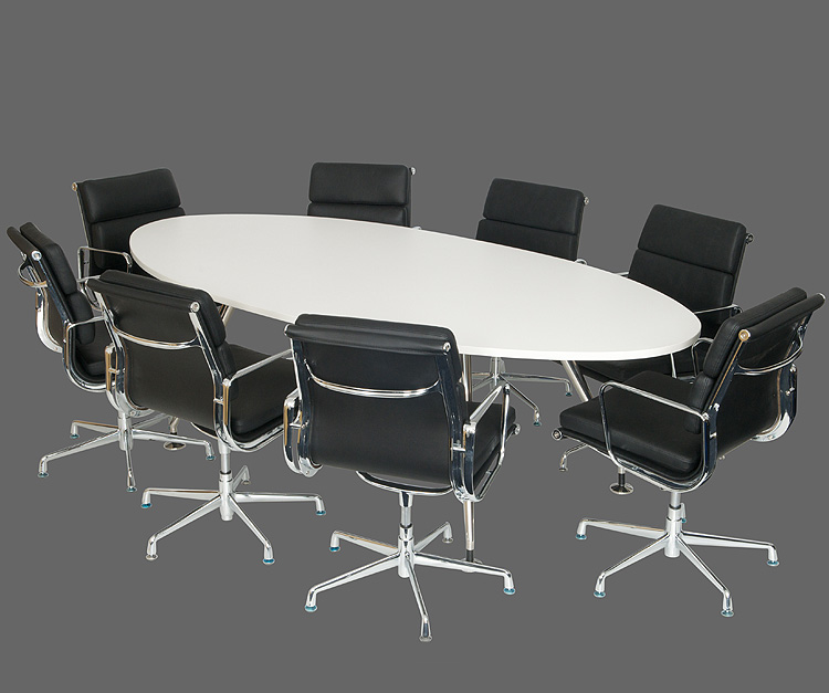 Sleek White oval shaped conference table