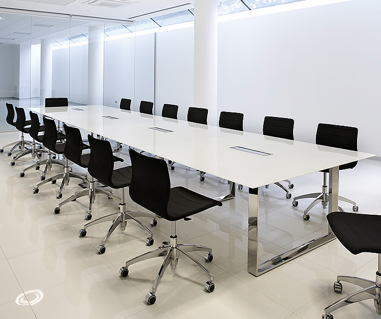 Elite white glass boardroom table