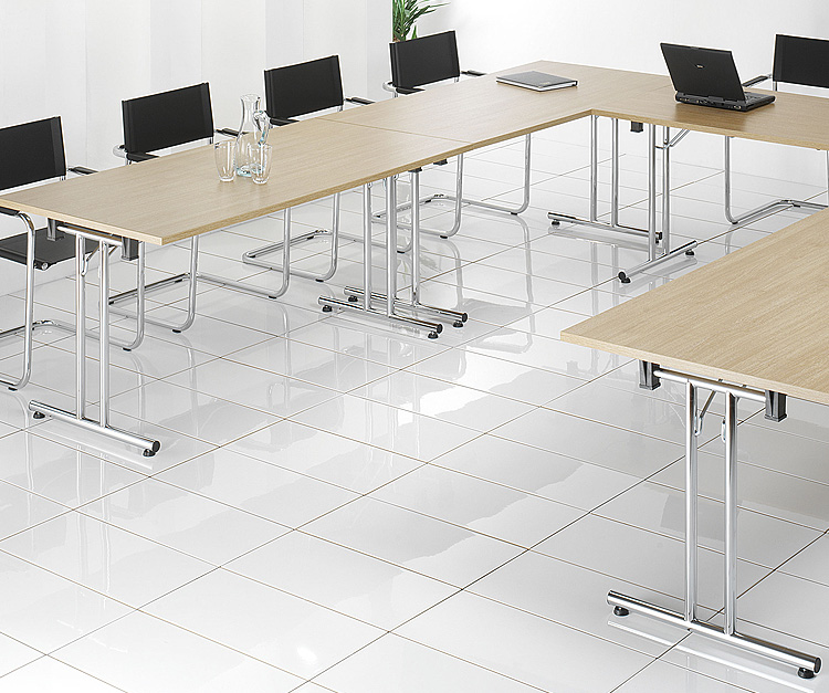 Latin cost effective chrome frame folding leg meeting table