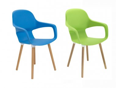 Ariel Cafe Chair with Tapered Wooden Legs