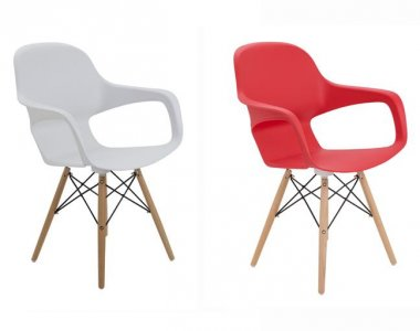 Ariel Cafe Chair with Tapered Wooden Legs & Wire Detail