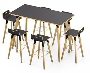 Evasion Black High Bench Table & Stools