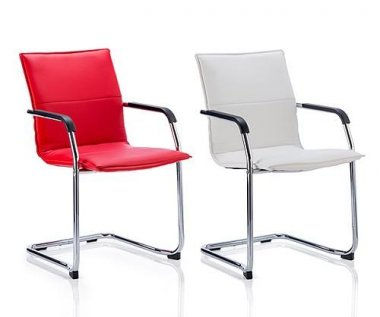 Harmony Red / White Bonded Leather Conference Chair