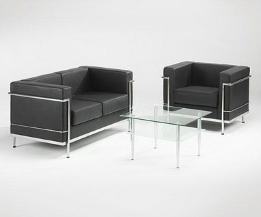 Moon Black Bonded Leather Sofa Collection