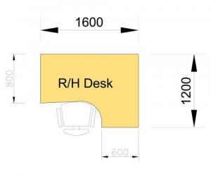 Cantilever Desk - right hand dimensions