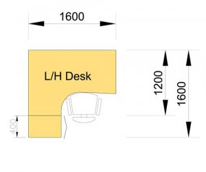 Desk & Pedestal Set - left hand dimensions