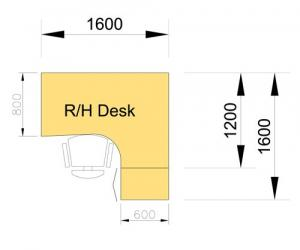Desk & Pedestal Set - right hand dimensions