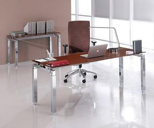 Golden Brown Glass Desk