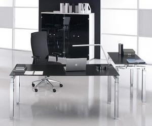 Opal Black Glass Executive Desk