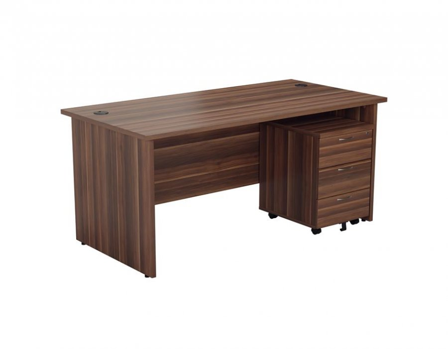 24/48 Hour Walnut Panel End Rectangular Office Desk & 3 Drawer Pedestal