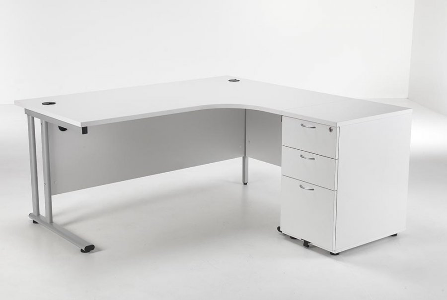 24/48 Hour Delivery White Radial Cantilever Desk & Pedestal Set