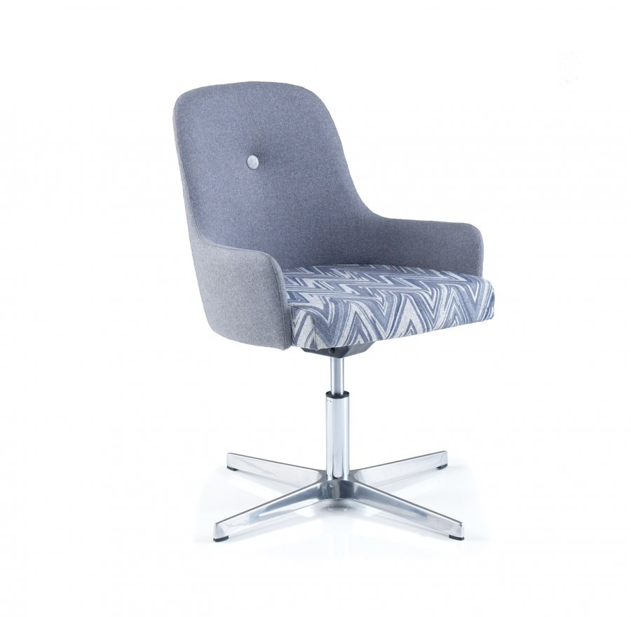 Yin Reception Chair with Chrome Swivel Base